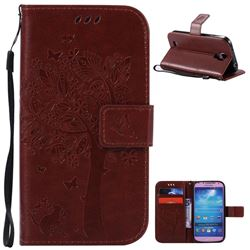 Embossing Butterfly Tree Leather Wallet Case for Samsung Galaxy S4 - Brown