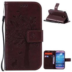 Embossing Butterfly Tree Leather Wallet Case for Samsung Galaxy S4 - Coffee