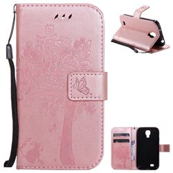 Embossing Butterfly Tree Leather Wallet Case for Samsung Galaxy S4 - Rose Pink