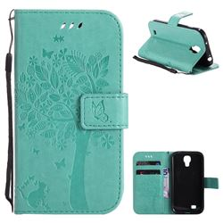 Embossing Butterfly Tree Leather Wallet Case for Samsung Galaxy S4 - Cyan