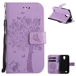 Embossing Butterfly Tree Leather Wallet Case for Samsung Galaxy S4 - Violet