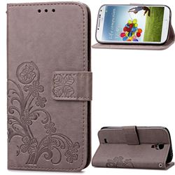 Embossing Imprint Four-Leaf Clover Leather Wallet Case for Samsung Galaxy S4 - Gray