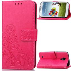 Embossing Imprint Four-Leaf Clover Leather Wallet Case for Samsung Galaxy S4 - Rose
