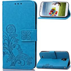 Embossing Imprint Four-Leaf Clover Leather Wallet Case for Samsung Galaxy S4 - Blue