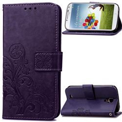 Embossing Imprint Four-Leaf Clover Leather Wallet Case for Samsung Galaxy S4 - Purple