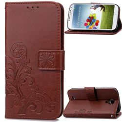 Embossing Imprint Four-Leaf Clover Leather Wallet Case for Samsung Galaxy S4 - Brown