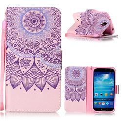 Purple Sunflower Leather Wallet Phone Case for Samsung Galaxy S4