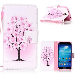 Peach Flower Leather Wallet Phone Case for Samsung Galaxy S4