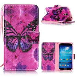 Black Butterfly Leather Wallet Phone Case for Samsung Galaxy S4