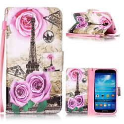 Rose Eiffel Tower Leather Wallet Phone Case for Samsung Galaxy S4