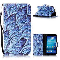 Blue Feather Leather Wallet Phone Case for Samsung Galaxy S4