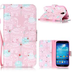 Pink Elephant Leather Wallet Phone Case for Samsung Galaxy S4