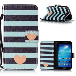 Blue Stripe Heart Leather Wallet Phone Case for Samsung Galaxy S4