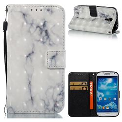 White Gray Marble 3D Painted Leather Wallet Case for Samsung Galaxy S4