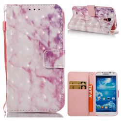 Pink Marble 3D Painted Leather Wallet Case for Samsung Galaxy S4