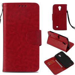 Retro Phantom Smooth PU Leather Wallet Holster Case for Samsung Galaxy S4 - Red