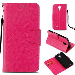 Retro Phantom Smooth PU Leather Wallet Holster Case for Samsung Galaxy S4 - Rose