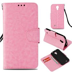 Retro Phantom Smooth PU Leather Wallet Holster Case for Samsung Galaxy S4 - Pink
