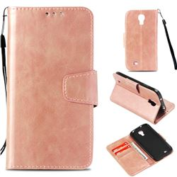Retro Phantom Smooth PU Leather Wallet Holster Case for Samsung Galaxy S4 - Rose Gold