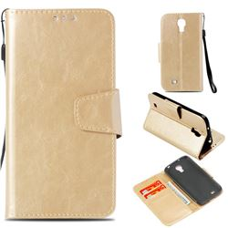 Retro Phantom Smooth PU Leather Wallet Holster Case for Samsung Galaxy S4 - Champagne