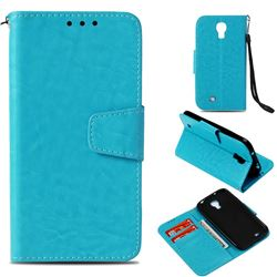 Retro Phantom Smooth PU Leather Wallet Holster Case for Samsung Galaxy S4 - Sky Blue
