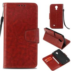 Retro Phantom Smooth PU Leather Wallet Holster Case for Samsung Galaxy S4 - Brown