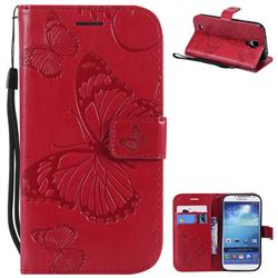 Embossing 3D Butterfly Leather Wallet Case for Samsung Galaxy S4 - Red