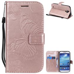 Embossing 3D Butterfly Leather Wallet Case for Samsung Galaxy S4 - Rose Gold
