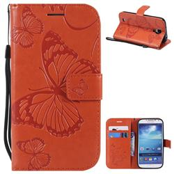 Embossing 3D Butterfly Leather Wallet Case for Samsung Galaxy S4 - Orange