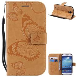 Embossing 3D Butterfly Leather Wallet Case for Samsung Galaxy S4 - Yellow