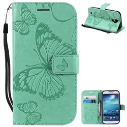 Embossing 3D Butterfly Leather Wallet Case for Samsung Galaxy S4 - Green