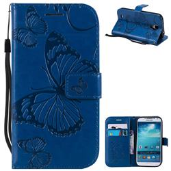 Embossing 3D Butterfly Leather Wallet Case for Samsung Galaxy S4 - Blue