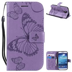 Embossing 3D Butterfly Leather Wallet Case for Samsung Galaxy S4 - Purple