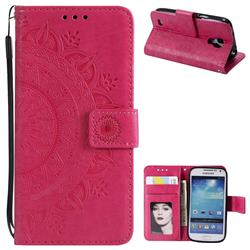 Intricate Embossing Datura Leather Wallet Case for Samsung Galaxy S4 - Rose Red