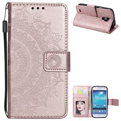 Intricate Embossing Datura Leather Wallet Case for Samsung Galaxy S4 - Rose Gold