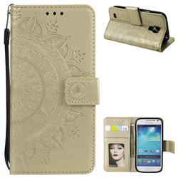 Intricate Embossing Datura Leather Wallet Case for Samsung Galaxy S4 - Golden