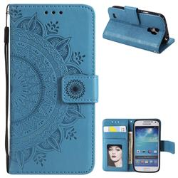 Intricate Embossing Datura Leather Wallet Case for Samsung Galaxy S4 - Blue