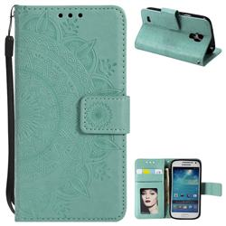 Intricate Embossing Datura Leather Wallet Case for Samsung Galaxy S4 - Mint Green