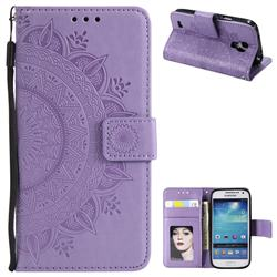 Intricate Embossing Datura Leather Wallet Case for Samsung Galaxy S4 - Purple
