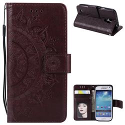 Intricate Embossing Datura Leather Wallet Case for Samsung Galaxy S4 - Brown