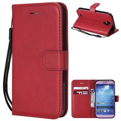 Retro Greek Classic Smooth PU Leather Wallet Phone Case for Samsung Galaxy S4 - Red
