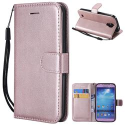 Retro Greek Classic Smooth PU Leather Wallet Phone Case for Samsung Galaxy S4 - Rose Gold