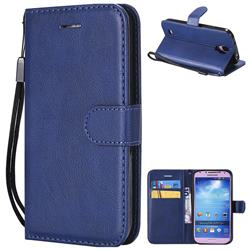 Retro Greek Classic Smooth PU Leather Wallet Phone Case for Samsung Galaxy S4 - Blue