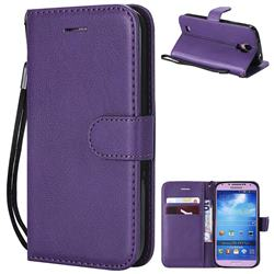 Retro Greek Classic Smooth PU Leather Wallet Phone Case for Samsung Galaxy S4 - Purple