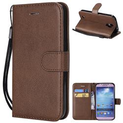 Retro Greek Classic Smooth PU Leather Wallet Phone Case for Samsung Galaxy S4 - Brown