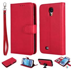 Retro Greek Detachable Magnetic PU Leather Wallet Phone Case for Samsung Galaxy S4 - Red