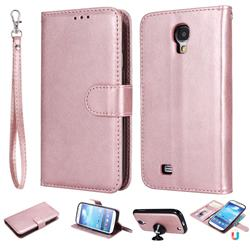 Retro Greek Detachable Magnetic PU Leather Wallet Phone Case for Samsung Galaxy S4 - Rose Gold