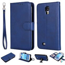 Retro Greek Detachable Magnetic PU Leather Wallet Phone Case for Samsung Galaxy S4 - Blue
