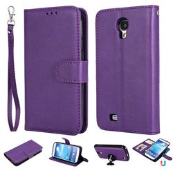 Retro Greek Detachable Magnetic PU Leather Wallet Phone Case for Samsung Galaxy S4 - Purple