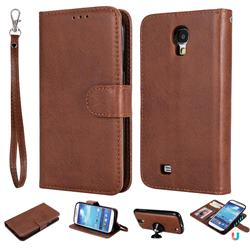 Retro Greek Detachable Magnetic PU Leather Wallet Phone Case for Samsung Galaxy S4 - Brown